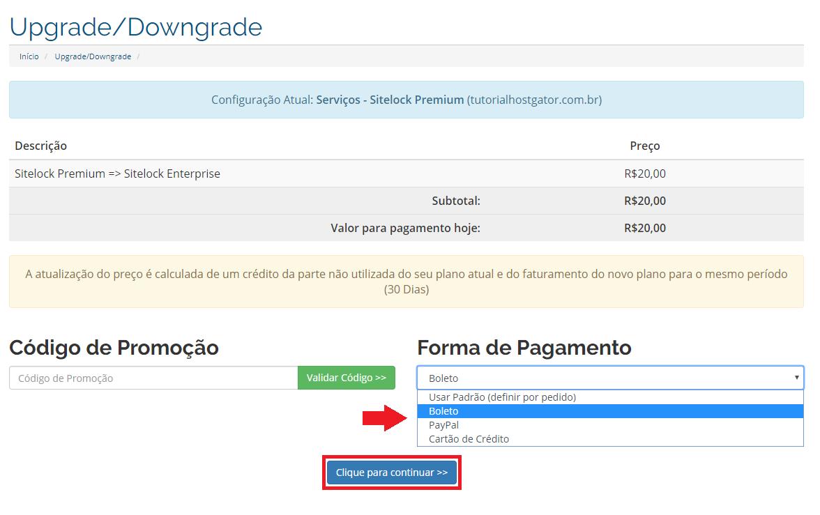 Upgrade/Downgrade SiteLock – Suporte HostGator